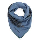 HERMES Panthera Pardus 圖騰羊絨混絲披肩圍巾(暗藍色)179150