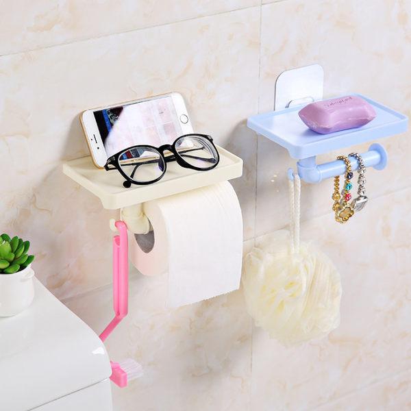 【捲筒紙巾架】魔力無痕貼吸盤置物架 手機架 雜物收納架掛勾 衛生紙架掛鉤 紙巾捲