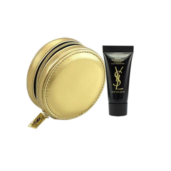 YSL 聖羅蘭~零錢包2件禮盒組(精品圓包金色+名模肌密光燦水凝露5ml)