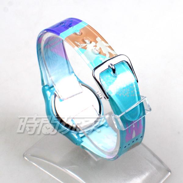 Disney 迪士尼 日本機芯 冰雪奇緣 艾莎公主 女王 安娜公主 兒童手錶 橡膠 女錶 藍色 FZ-3308藍小