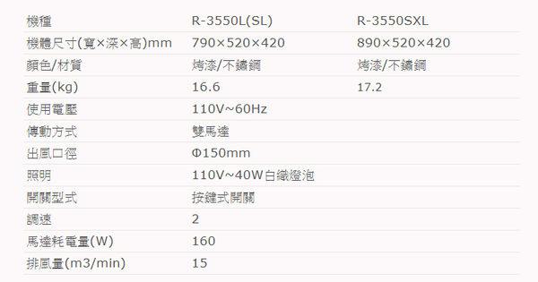 櫻花牌R-3550L 琺瑯深罩式除油煙機(80cm)R3550L(限北北基地區購買安裝)