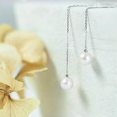 ﹝鑽石屋﹞5mm白色珍珠耳環  百搭氣質款 垂吊式耳環 無後束耳環