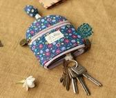 棉布藝卡通可愛抽拉繩鑰匙包有拉錬防刮花可以放零錢放銀行卡學生