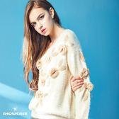 【SHOWCASE】立體蕾絲花落肩針織上衣(杏色/黑色)-千元有找