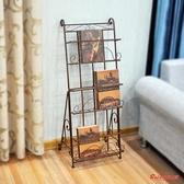 雜誌架雜志架報刊架書報架資料架落地歐式鐵藝 宣傳展示架子立體書架T 3 色