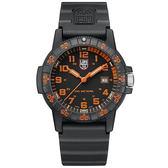 LUMINOX 雷明時SEA TURTLE 0320海龜系列腕錶-黑x橘時標/44mm A0329