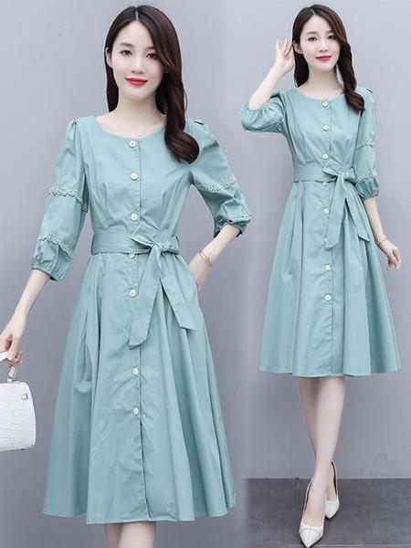 早春連身裙秋裝2021年新款女裝收腰顯瘦氣質小個子輕熟風裙子春季 伊蘿