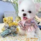 寵物比熊博美泰迪雪納瑞夏季夏天薄款淑女花邊格紋衣服兩腳薄小型犬小狗狗【小獅子】