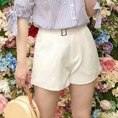 Poly Lulu 純色簡約裝飾方釦短褲-白【96220042】
