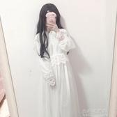 女裝甜美蕾絲花邊仙女裙網紗長裙長袖超仙氣質洋裝 【快速出貨】