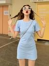 女短袖洋裝長裙夏季很仙的裙子純色氣質圓領中腰小清新寬鬆甜美短裙短袖連衣裙女