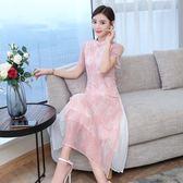 中式洋裝連身裙百褶裙復古雪紡印花立領改良旗袍 巴黎時尚