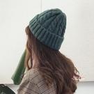 毛線帽 chic秋冬保暖針織毛線帽韓版潮百搭卷邊尖尖帽日系ins情侶帽子女 多色