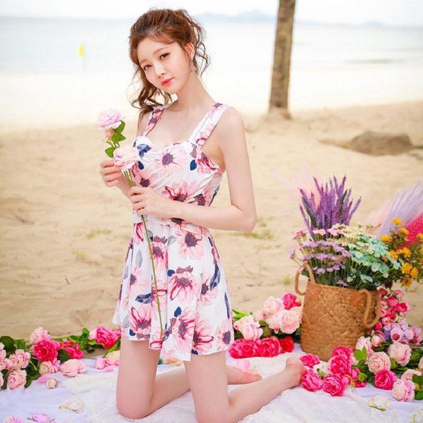 梨卡 - 優雅甜美[顯瘦遮到腿+集中鋼圈]大胸可穿加厚胸墊印花花紋連身泳衣裙式連身泳裝CR443