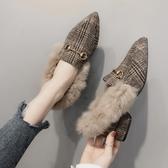 毛毛鞋女秋冬外穿新款百搭網紅加絨粗跟懶人一腳蹬瓢鞋 - 古梵希