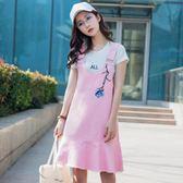 背帶裙 2018新款韓版荷葉邊魚尾吊帶連衣裙LJ7273『miss洛羽』