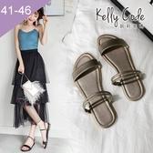 大尺碼女鞋-凱莉密碼-時尚細帶多用途兩穿真皮平底涼鞋2cm(41-46)【YG4057】香檳