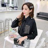 早春新款chic風時尚流蘇裝飾襯衣polo領單排扣純色長袖襯衫上衣女『韓女王』