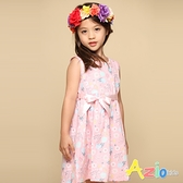Azio 女童 洋裝 滿版花草印花綁帶無袖洋裝(粉) Azio Kids 美國派 童裝