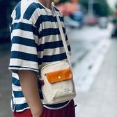 帆布側背包-拼接皮革輕便休閒男女單肩包2色73xo34【時尚巴黎】