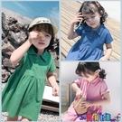 兒童連身裙 2021新款女童夏裝時尚女寶寶翻領短袖連身裙百搭兒童潮流裙子 618狂歡