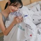 純棉 床包被套組(鋪棉被套) 單人【小鎮】ikea風 100%精梳棉 翔仔居家