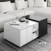 多功能功夫茶几智能電動茶台桌簡約現代北歐小戶型帶泡茶升降茶桌XW 快速出貨