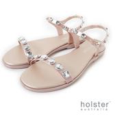 HOLSTER  圓型水鑽一字帶涼鞋-粉金色