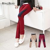 質感長褲--獨特設計鬆緊褲頭牛仔色拼接內搭式長褲(紅.咖S-6L)-P76眼圈熊中大尺碼