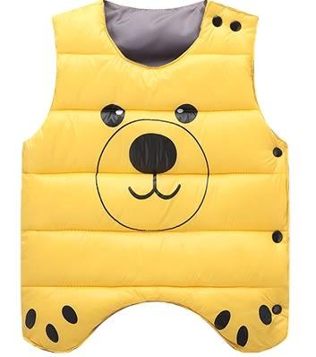 男Baby男童裝輕便型羽絨棉背心黃色可愛熊熊印花羽絨棉背心現貨