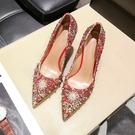 結婚鞋女細跟紅色高跟