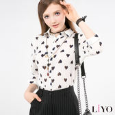 LIYO理優愛心印花雪紡襯衫L635003