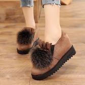 豆豆鞋 內增高荷葉邊毛毛鞋冬季加絨套腳厚底懶人鞋坡跟保暖休閒女鞋棉鞋