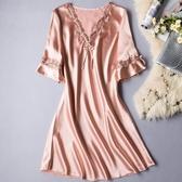 冰絲睡衣 睡裙夏冰絲中裙家居服連衣裙薄款短袖蕾絲大碼絲質