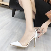 細高跟鞋白色透明少女高跟鞋女秋季2019新款性感細跟尖頭百搭氣質仙女單鞋YJ2227【雅居屋】