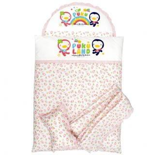 藍色企鵝 PUKU 印花七件式 寢具組 L 粉色