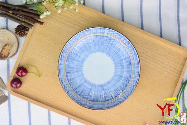 【堯峰陶瓷】【日本美濃燒】彩虹十草 6.5吋 圓盤 深盤 餐盤 線條紋