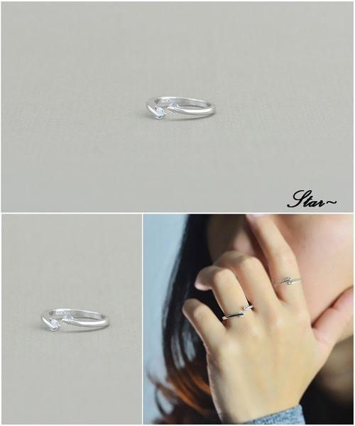 Star 銀色系列 -銀飾雙鑽設計指環(S925)-A3