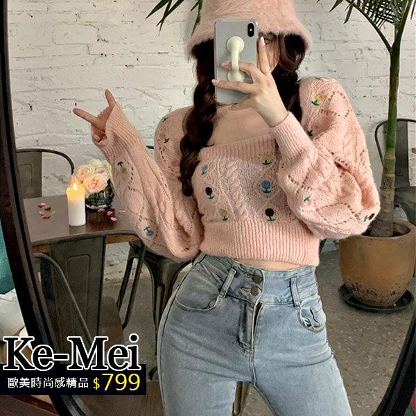 克妹Ke-Mei【ZT64703】歐洲站 奢華復古花朵刺繡毛衣外套+平口小可愛