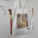 英國博物館穆夏復古油畫帆布包單肩包手提袋購物袋學生書包托特包 夢幻小鎮