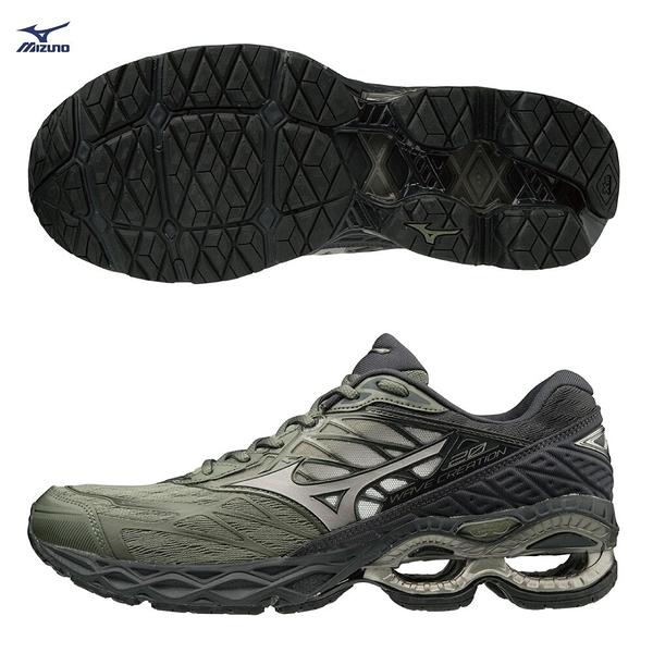 MIZUNO WAVE CREATION 20 男鞋 慢跑 路跑 中高足弓 耐磨 舒適 彈性 綠 黑【運動世界】J1GC190158