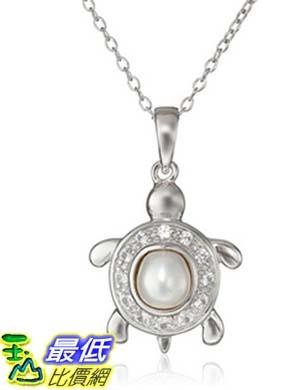 [美國直購]  Sterling Silver and Created White Sapphire Chinese Freshwater Cultured Pearl Turtle Pendant Necklace, 18 項鍊