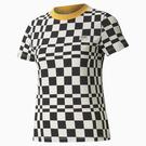 PUMA Downtown graphic 女裝 短袖 T恤 休閒 格紋 棉 歐規 黑白【運動世界】53167701