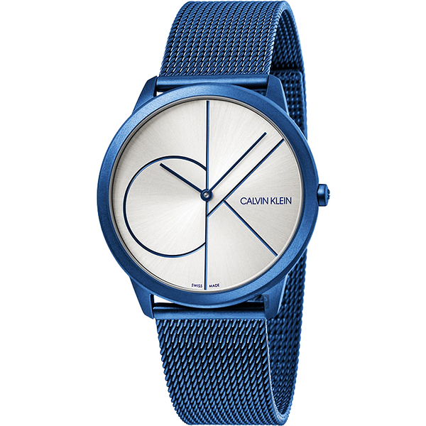 Calvin Klein CK Minimal 經典大LOGO手錶-白x藍/40mm K3M51T56