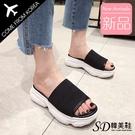 韓國空運 針織素面造型 舒適柔軟鞋墊 厚底涼拖鞋【F713284】版型正常/SD韓美鞋