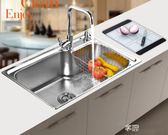 廚房304不銹鋼水槽單槽洗菜盆 碗池拉絲 加厚 台上盆 台下盆igo 享購