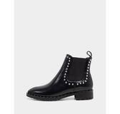 真皮短靴-R&BB牛皮*歐美時尚個性鉚釘雀兒喜平底低跟靴-黑色