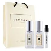 Jo Malone 英國梨+藍風鈴(9ml)X2+牡丹與胭紅麂絨針管香水 -贈提袋