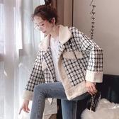毛呢外套 韓系秋冬小香風格子短款羊羔毛保暖大衣 花漾小姐【預購】