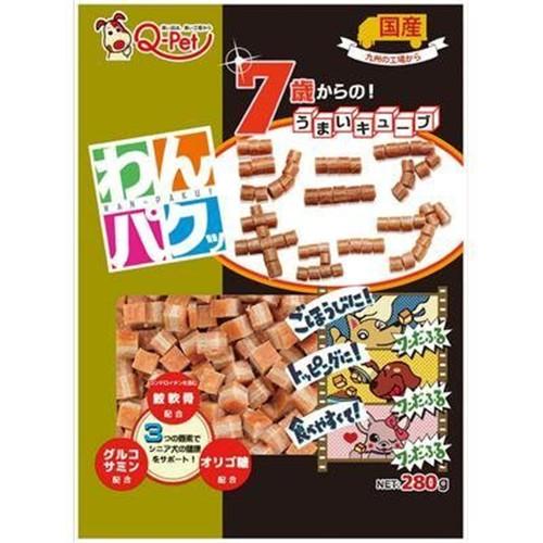 *WANG*日本Q-PET巧沛《口福系列-三合一 雞肉起士 高齡犬健骨》 280G 犬用肉角零食